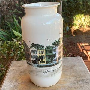 Rainbow Row-Charleston, SC. Ceramic Vase